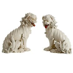 Pair of Japanese Porcelain Foo Dogs circa 1900 | From a unique collection of antique and modern ceramics at http://www.1stdibs.com/furniture/asian-art-furniture/ceramics/