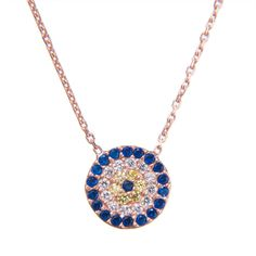 LUCKY EYES Classic round Evil Eye necklace