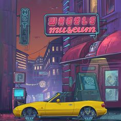🤖WHEELS museum Poster vol.3 . . . #miata #miatamerch #mazda #mx5 #roadster #wheels #museum #wheelsmuseum #night #retrofuturism #future #retrogasstation #carwash #poster #illustration #art #mazdamx5 #na #jdm #mazdamiata #neon #andrewmytro