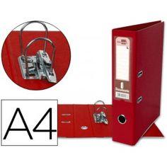 Práctico y elegante archivador A-4 con mecanismo de palanca y rado, fabricado en cartón contracolado forrado en PVC color rojo