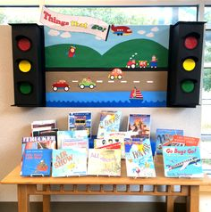 """Richard Scarry """"Things That Go"""" Transportation display in the Early Literacy area of the Broadmoor Branch of Shreve Memorial Library Transportation Activities, Library Activities, School Displays, Classroom Displays, Preschool Bulletin, Preschool Activities, Science Projects, School Projects, Travel Bulletin"""