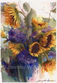 Watercolor Paintings by Jennifer Bowman Sunflower Art, Watercolor Sunflower, Watercolor Flowers, Art Floral, Cow Art, Fruit Art, Watercolor Artwork, Drawings, Watercolors