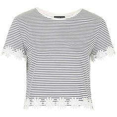 TOPSHOP PETITE Striped Daisy Trim Tee ($37) ❤ liked on Polyvore featuring tops, t-shirts, crop top, shirts, remeras, navy blue, petite, white tee, navy blue shirt and lightweight t shirts
