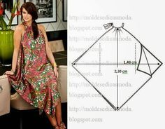 "Sew easily and simply - this leads to a Russian forum of ""easy"" patterns. Some are easier than others, but they're all pretty fun and. Scarf Dress, Diy Dress, Diy Clothing, Sewing Clothes, Dress Sewing Patterns, Clothing Patterns, Handkerchief Dress, Creation Couture, Sewing Stitches"