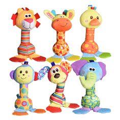 1 개 소프트 아기 봉제 장난감 만화 동물 teether 딸랑이 찍찍이 BB 측심기 조기 교육 brinquedos juguetes 침대 유모차