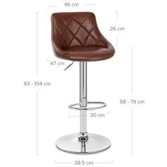 Hype Bar Stool Antique Brown - Atlantic Shopping Brown Leather Bar Stools, Diamond Pattern, Foot Rest, Chrome Finish, Polished Chrome, Metal Working, Contemporary Design, Antiques, Modern
