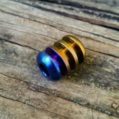 Titanium Four Ribbed Bead with Blue to Copper Fade Anodizing