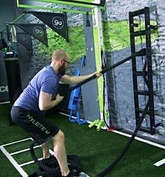 MoveStrong Wall Mount Rope Ladder A space efficient tool to incorporate a variety of training rope pulling exercises into your functional s. Gym Workouts, At Home Workouts, Indoor Gym, Rope Ladder, Gym Room, Garage Gym, Gym Design, Functional Training, At Home Gym