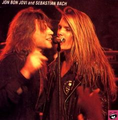Sebastien Bach (from Skid Row) Jon Bon Jovi (from Bon Jovi) Both are so hot that are great lead singers from an band! Jon Bon Jovi, Bon Jovi 80s, Sebastian Bach, Rock N Roll, Heavy Metal, Bon Jovi Always, 80s Hair Bands, Skid Row, This Is Your Life