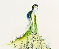 8x10 Fine Art Print Serenity picturesque watercolor by oladesign, $25.00