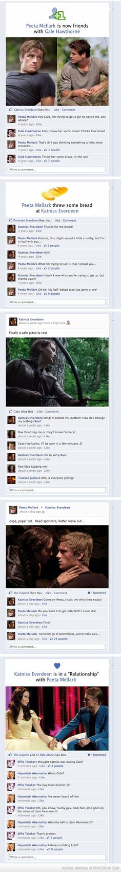 Hahahaha Hunger Games On Facebook. Corny, but that last line is pretty hilarious. ;)