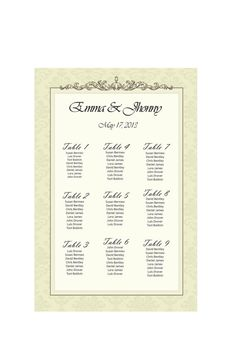 Wedding Seating Chart  By table No.   Customizable by PartyJony, $22.00