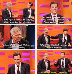 Benedict getting complements from Harrison Ford.but more like sherlock getting compliments. Sherlock Holmes, Sherlock Cumberbatch, Benedict Cumberbatch Interview, Moriarty, Mrs Hudson, Harrison Ford, Johnlock, Rupert Graves, Baker Street