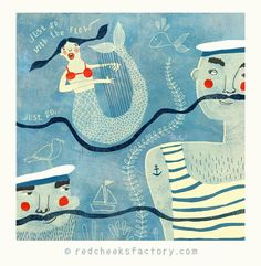 giclee print go with the flow nautical art by RedCheeksFactory
