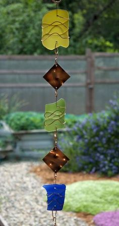 Colorful Glass Copper Handmade Windchime Suncatcher - Coast Chimes - 4