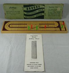 Vintage Brooks Continuous Track Cribbage Board Standard Model #28 Made in USA #Brooks