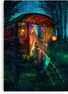 Firefly Art, Fantasy Kunst, Earth Design, Gypsy Wagon, Thing 1, Fantasy Artwork, Canvas Prints, Art Prints, Bohemian Decor
