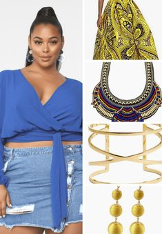 A plus size African inspired outfit inspiration. An african outfit. Featuring items by Fashion Nova, FSJ shoes, Nordstrom and eBay! #plussize #africanfashion #african #ootd #outfit Plus Size Crop Tops, Blue Crop Tops, Womens Maxi Skirts, Printed Maxi Skirts, Royal Blue Wedges, African Scarf, Blue Wedge Sandals, Chic And Curvy, Head Wrap Scarf
