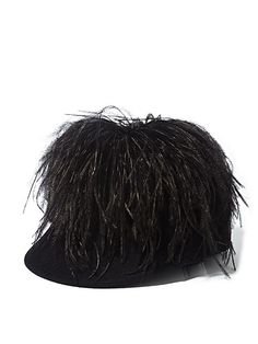 Lanvin Womens Fur Felt Feathered Cap