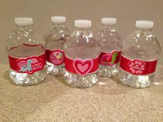 Water bottles I decorated for the preschool Valentine's Day party