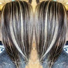 Day & Night Hair Color Soft Dark Brown With Cream Soda Blonde Highlights Joico Hair Salon Covering Gray Hair, Night Hairstyles, Transition To Gray Hair, Hair Color Highlights, Dark Brown Hair With Blonde Highlights, Chunky Highlights, Balayage Highlights, Hair Color And Cut, Hair Today
