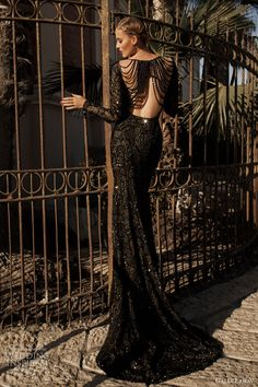 galia lahav haute couture 2014 moonstruck jupiter black evening gown long sleeves