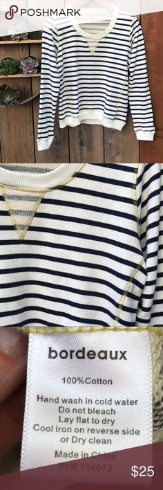Bordeaux sweatshirt from Anthropologie NWOT Light cream with navy stripes, yellow contrast stitching adds nice detail. Boxy fit. Never been worn. Bordeaux Tops Sweatshirts & Hoodies