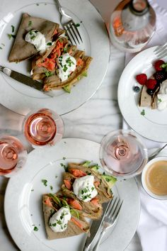 buckwheat crepes with salmon and avocado, brunch