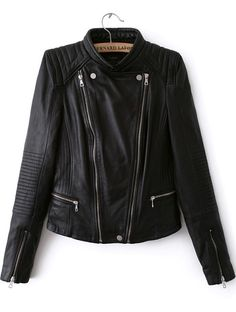 Black Long Sleeve Zipper PU Crop Jacket 45.67