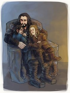 Thorin, Kili, and Fili. Hmm. Well I know they're his cousins or nephews but why do they look so small. Lol. They're middle aged dwarves.