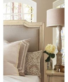 Taupe and white bed linen...love everything about this!!