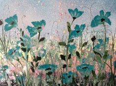 """ARTFINDER: Teal poppies by Jane Morgan - This is a little original painting of lovely teal poppies with salmon pink and iridescent pearl ink to sparkle. Will fit a standard 10""""x8"""" mount opening to f..."""