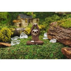 Yoga Sloth - Fairy Garden SupplyDimensions (approximately): H x 2 WCan be used for indoor or outdoor displays. Miniature Zen Garden, Yoga Themes, Garden Frogs, Garden Animals, Fairy Garden Supplies, Curious Creatures, Baby Fairy, Sloth, Blue Bird