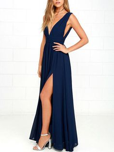 Simply V Neck Navy Blue Long Chiffon Prom Dress Bridesmaid Dress