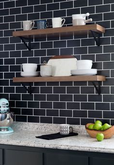 Timeless subway tile gets a modern update in a black matte finish. In episode 4 of The Weekender, Monica gives an outdated kitchen a current look with matte black details and charming open shelving in place of cabinets. You won't believe the reveal!
