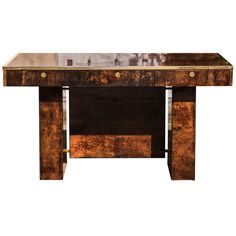 Elegant Aldo Tura Brown Goatskin Desk   From a unique collection of antique and modern desks and writing tables at https://www.1stdibs.com/furniture/tables/desks-writing-tables/