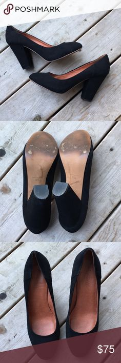 ✨Price Drop [Madewell] Black Suede Pumps Beautiful and EUC. 4 inch heel. Runs large IMO. Madewell Shoes Heels