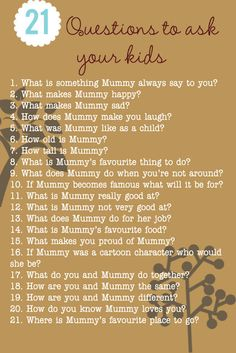 Qs to ask your kids about their mom. Could be a good mother's day gift to hear a child's perspective.