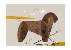 """Limited-edition giclee print entitled """"Water Dog"""", by the Charley Harper Art Studio."""