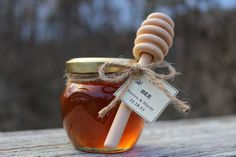 What a sweet idea!  SET OF 24 Rustic wedding honey jar favors with by OccasionHouse, $118.80