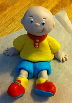 Caillou Caillou Cake, Fondant Cupcakes, Little Pigs, Cake Tutorial, 2nd Birthday Parties, Cold Porcelain, Clay Creations, Party Time, Cake Toppers