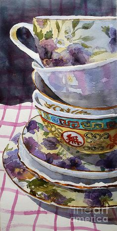 "periwinkleliving: "" (via Teatime Painting by Marisa Gabetta - Teatime Fine Art Prints and Posters for Sale) "" Watercolour Painting, Painting & Drawing, Watercolors, Art Aquarelle, Illustration Art, Illustrations, Tea Art, Still Life Art, Oeuvre D'art"