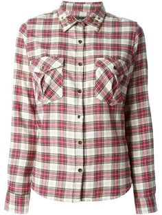 'Red and nude cotton checked star stud shirt from Maison Scotch.' www.sellektor.com