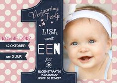 Populaire verjaardagsfeestje 1 jaar Meisje - Uitnodigingen - Te vinden op: www.kaartje2go.nl/uitnodigingen