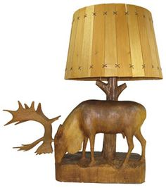 Antique hand carved Moose lamp, with wooden shade. C 1920. Made by Quebec,Canada craftsman,Arthur Dube.