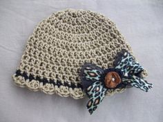Tan and Black Crochet Hat with Detachable by AngieHallHaviland, $12.00