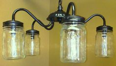make a chandelier with jars | Make your own Mason Jar Chandelier from an old light fixture ...