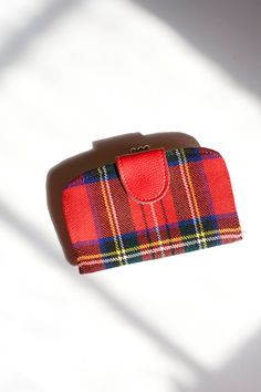 Vintage Wallet  Red Plaid Leather Billfold by PomegranateVintage, $23.00