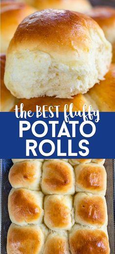 Fluffy Dinner Rolls, Homemade Dinner Rolls, Easy Homemade Bread, Homemade Dinners, Potato Rolls Recipe, Fast Rolls Recipe, Fluffy Yeast Rolls Recipe, Fluffy Bread Recipe, Roll Recipe