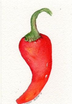 4 x 6 Original  Red Hot Pepper Painting by SharonFosterArt on Etsy, $8.00